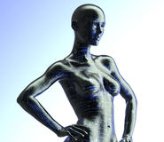 Mulher eletrônica ou cyborg fêmea isolada no fundo binário fotografia de stock