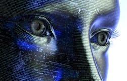 Mulher eletrônica ou cyborg fêmea isolada no fundo binário imagem de stock royalty free