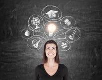 Mulher em ícones do preto e da educação Imagens de Stock