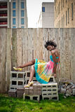 Mulher em blocos Imagens de Stock Royalty Free