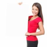 Mulher em branco do cartaz imagem de stock