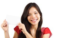 Mulher em branco do cartão de papel Fotografia de Stock