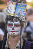 Mulher em Dia De Los Muertos Makeup Fotografia de Stock Royalty Free