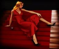 Mulher em escadas Foto de Stock