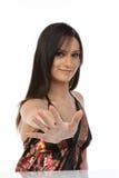 Mulher em evitar o gesto fotos de stock royalty free