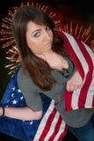 Mulher em fogos-de-artifício Fotos de Stock