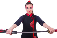 Mulher em marcial japonês Imagens de Stock