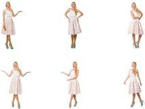 A mulher em olhares da forma isolada no branco Imagem de Stock Royalty Free