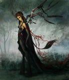 Mulher em preto e em vermelho ilustração stock