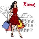 Mulher em Roma Foto de Stock