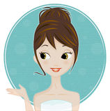 Mulher em seu banheiro Fotos de Stock