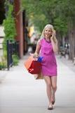 Mulher em um atendimento ao carreg sacos de compra foto de stock