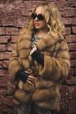 Mulher em um casaco de pele Fotos de Stock