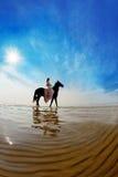 Mulher em um cavalo pelo mar fotos de stock