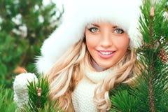 Mulher em um chapéu, mitenes, scarves, camisetas, pele na floresta do abeto do inverno imagens de stock royalty free