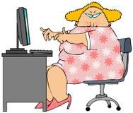 Mulher em um computador Fotografia de Stock