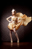 Mulher em um estilo luxuoso com tela do vôo Foto de Stock Royalty Free