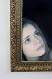 Mulher em um frame da pintura imagem de stock royalty free