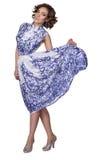 Mulher em um vestido com um gzhel do teste padrão Imagens de Stock Royalty Free