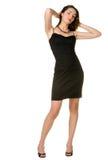 A mulher em um vestido preto. fotografia de stock royalty free