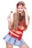 Mulher em um vestido vermelho com os vidros Imagens de Stock Royalty Free