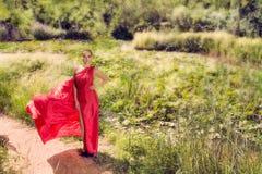 Mulher em um vestido vermelho longo Fotos de Stock Royalty Free