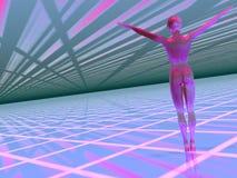Mulher em um worl alta tecnologia do cyber ilustração stock