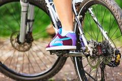 Mulher em uma bicicleta Imagens de Stock