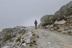 Mulher em uma estrada da montanha rochosa Imagem de Stock