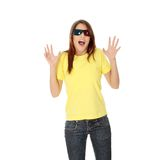 Mulher em vidros do cinema 3d Imagens de Stock