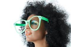 Mulher em vidros grandes do palhaço Imagens de Stock Royalty Free