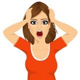 Mulher emocionalmente forçada que agarra sua cabeça ilustração stock