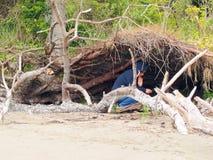 A mulher encontra o abrigo natural Fotografia de Stock Royalty Free