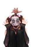 Mulher engraçada com composição assustador foto de stock
