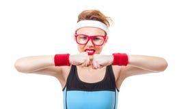 Mulher engraçada da aptidão pronta para o gymnastick imagens de stock