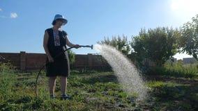 Mulher engraçada em Panamá que molha seu jardim de um bocal de chuveiro no slo-mo video estoque