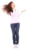 Mulher engraçada que apresenta o produto Fotografia de Stock Royalty Free