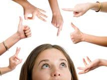 Mulher entre os gestos de mão ajustados foto de stock royalty free