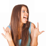 Mulher entusiástica e feliz Imagem de Stock Royalty Free