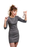 Mulher entusiasmado com vidros Foto de Stock Royalty Free