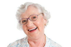Mulher envelhecida de sorriso de riso Fotos de Stock