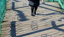 A mulher escala acima as escadas fotografia de stock royalty free