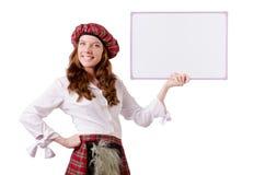 Mulher escocesa com placa Fotografia de Stock Royalty Free