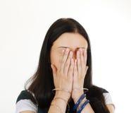 A mulher esconde sua face Imagens de Stock Royalty Free