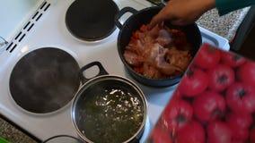 A mulher espalha partes da galinha em cenouras brindadas video estoque
