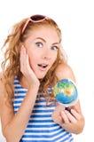 Mulher espantada em veste listrada Imagem de Stock