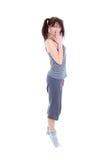 Mulher espantada nos pijamas sobre o branco Imagens de Stock