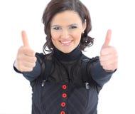 a mulher especifica os polegares acima. Foto de Stock