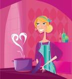 A mulher está cozinhando o alimento dos Valentim com amor ilustração do vetor