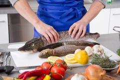 A mulher está cozinhando peixes frescos Fotos de Stock